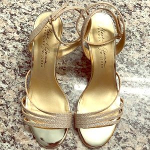 BADGLEY MISCHKA gold wedges - worn once!